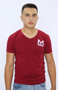 Футболка V-воротник - Красная